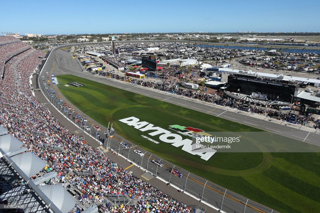 DAYTONA BEACH, FL - FEBRUARY 26:  Jamie McMurray, driver of the #1 Cessna McDonald's Chevrolet, leads a pack of cars during the 59th Annual DAYTONA 500 at Daytona International Speedway on February 26, 2017 in Daytona Beach, Florida.  (Photo by Brian Lawdermilk/Getty Images)